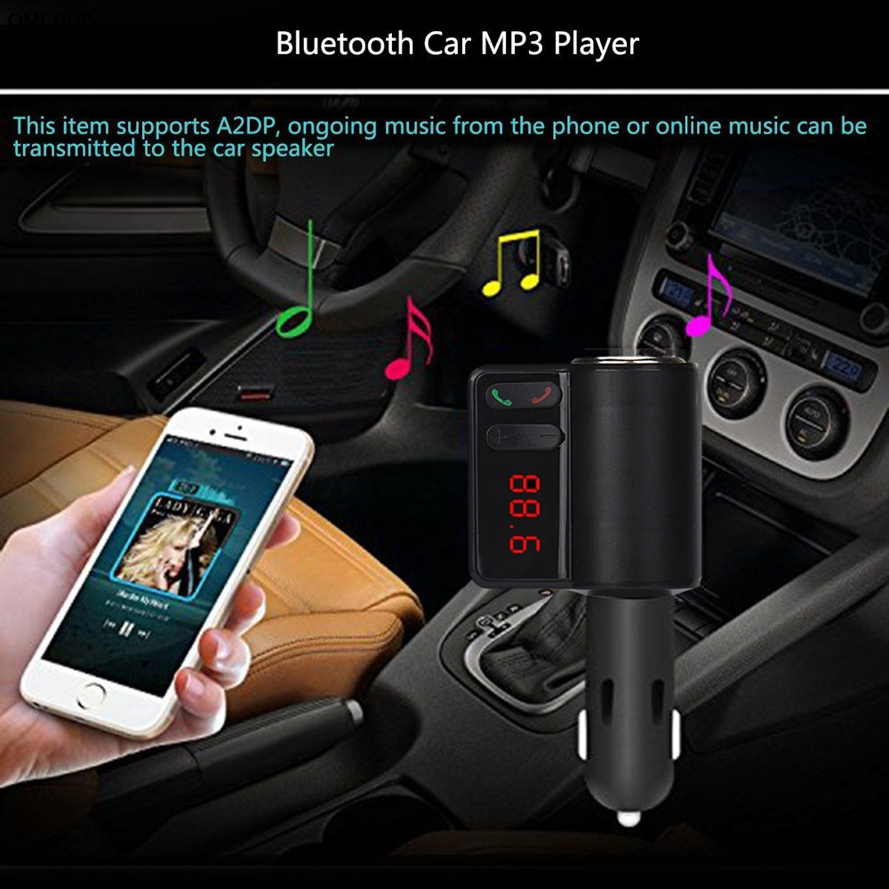 Wireless Bluetooth LCD MP3 Player Car <font><b>Charger</b></font> Kit 2 <font><b>USB</b></font> FM Transmitter Modulator Built-in FM transmitter 0512