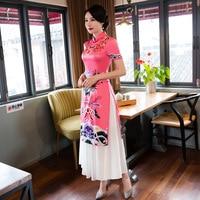 New classic vintage aodai dress 2018 winter ao dai cheongsam folk style vietnam chiffon aodai Women