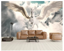 beibehang Classic personality fashion papel de parede 3d wall paper Nordic Pegasus background simple sky stereo wallpaper behang