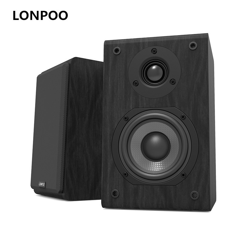 LONPOO Bookshelf Speaker Pair 4-inch Carbon Fiber Woofer and Silk Dome Tweeter Passive 2-Way 75W *2 Classic Wooden Loudspeaker