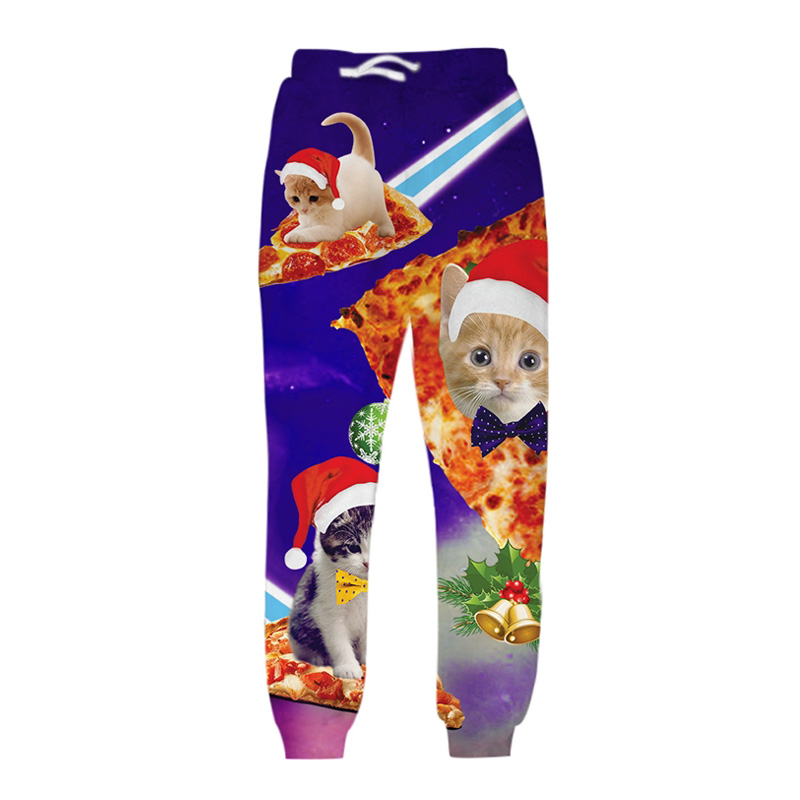 Men Christmas Pants Unisex 3D Printed Galaxy Cats Trousers Funny Sweatpants Casual Sweat Pants Joggers Large Size