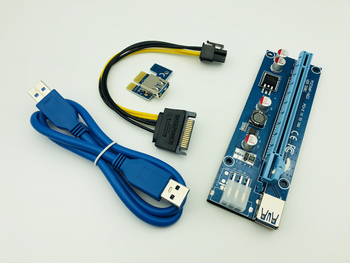 Wholesale 6pcs USB 3.0 SATA 15pin Male to 6pin PCI-E Riser Express 1X 4x 8x 16x Extender Riser Adapter Card  Power Cable for BTC