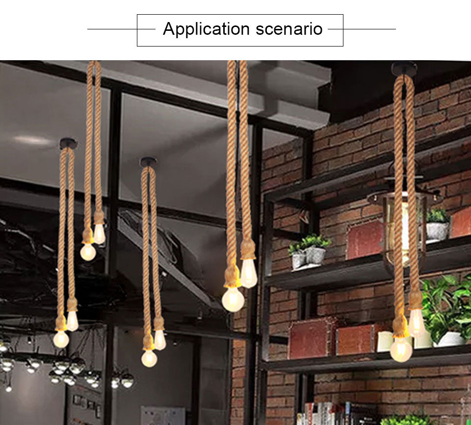 EeeToo Modern Industrial Pendant Light for Bedroom Vintage Lamp Rope E27 Hanging Light Fixture Chandelier Loft Edison Bulb Style (6)