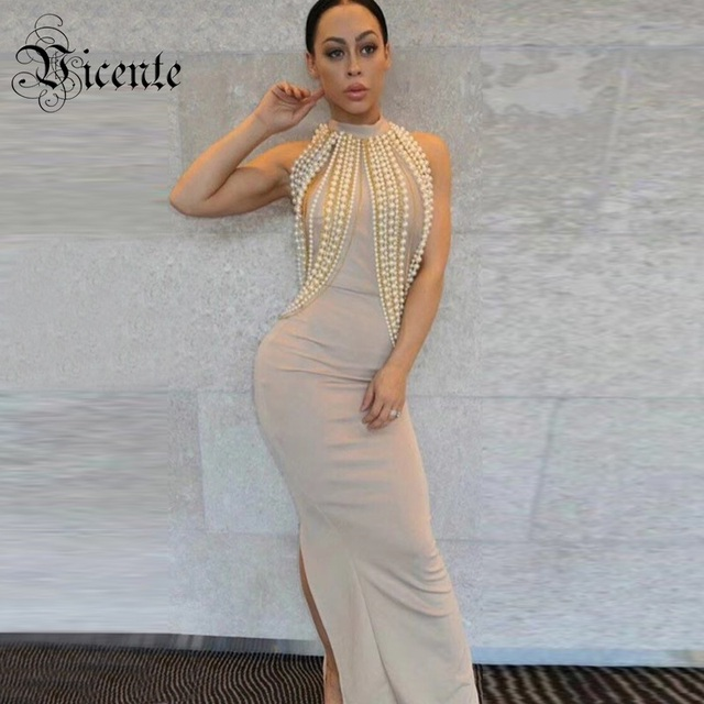 Free Shipping 2019 New Chic Top Design Luxe Pearl Chain Embellished Sexy Sleeveless Wholesale Celebrity Bandage Maxi Long Dress