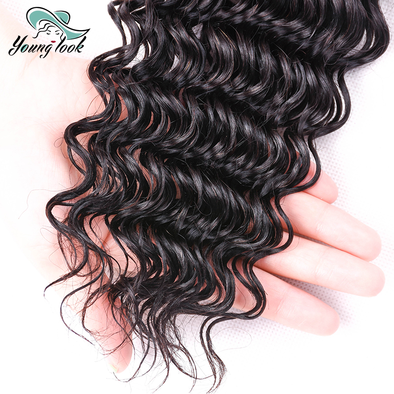 Young look Brazilian Deep Wave 4*4 Lace Closure 100% Human Hair Natural Color Non Remy Hair Free/Middle/Three Part Closure