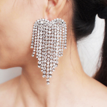 Luxury Rhinestone Tassel Earrings Statement Heart Shape Drop Dangle Earrings Women Wedding Bridal Earrings Jewelry 2019 UKMOC pair of high heel heart rhinestone shape earrings