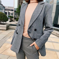 Korean Fashion Double Breasted Blazers Jacket Women Relaxed Long Blazers Lady Small Suit Notched Collar