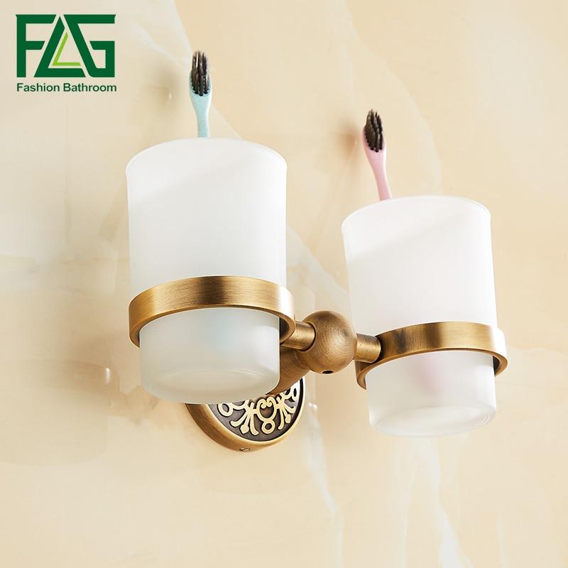 FLG Space Aluminum Brass Antique Tumbler Holder Cup & Tumbler Holders Tumbler Toothbrush Holder Bathroom Accessories flg bathroom accessories wall mounted tumbler holder cup