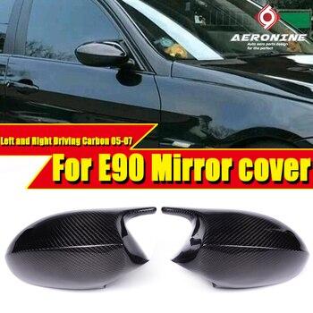 Tapa de espejo de fibra de carbono de secado al vacío 100% añadir en estilo M3 buscar para BMW E90 3 Series Sedan reemplazo de 2-Pcs 2005-07