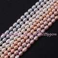"5-6mm Natural Oval Freshwater Pearl Gem Stone For DIY Necklace Bracelet Jewelry Making Spacer Beads Strand 15"" Free Shipping"