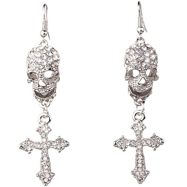 Cool Silver Gothic Punk Style Skull Cross Shaped With Diamond Long Dangle Earrings for Women 5acI9zQ6O