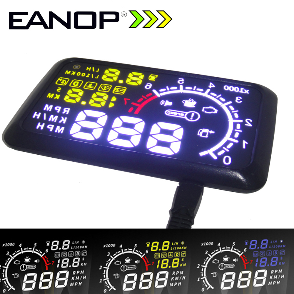 EANOP 5.5 HUD Headup Display Car Speed Projector Car hud Windshield Projector Head OBD2 fuel Overspeed KM/H for Toyota Ford BMW eanop m30 car hud head up display obd2 windshield projector speedometer alarm for peugeot 307 renault audi bmw e46