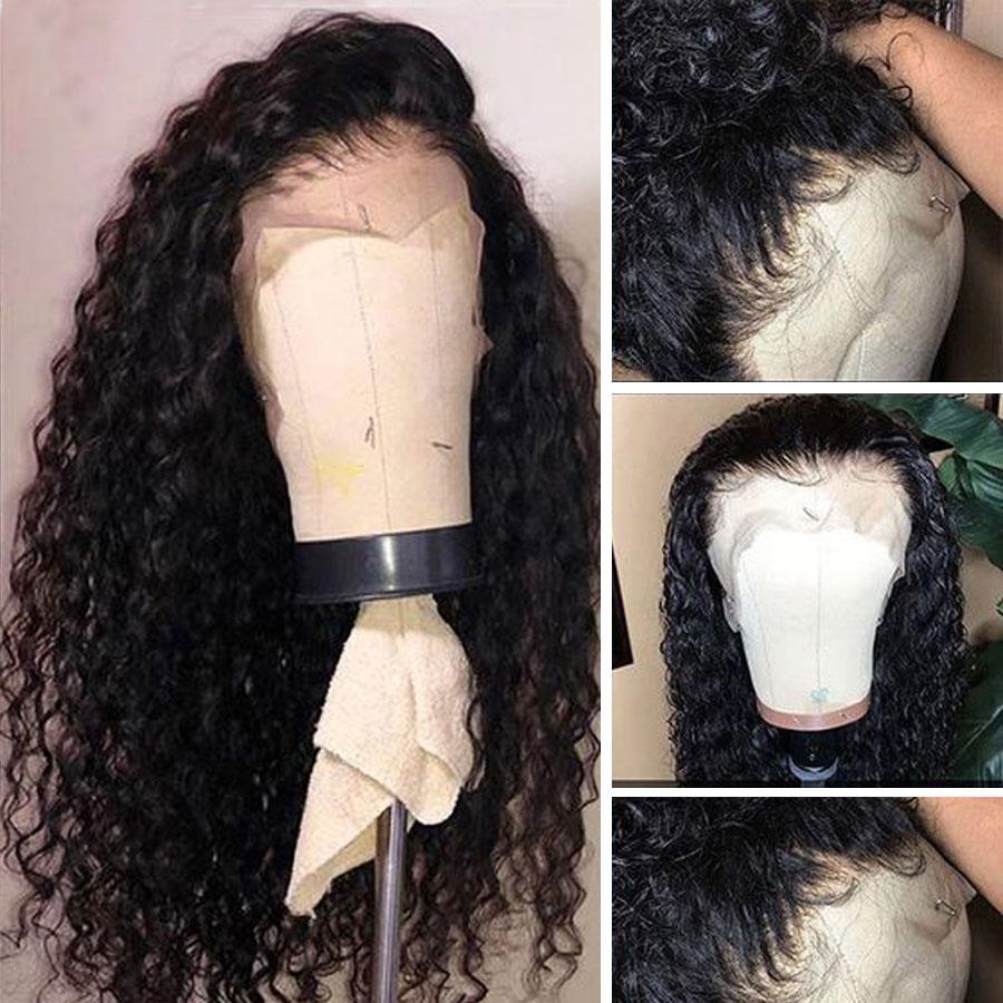 Lasje globoke valove čipke spredaj lasulje las z otroškimi lasmi - Človeški lasje (za črne) - Fotografija 2