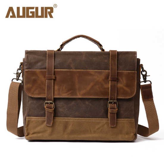 2018 AURUR waterproof oil wax canvas bag with crazy horse leather Europe and United States mobile
