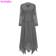 2019 V-Neck Chiffon Tea Length Mother of The Bride Dress Long Sleeves Lace Knee Short Wedding Guest Dresses with Jacket