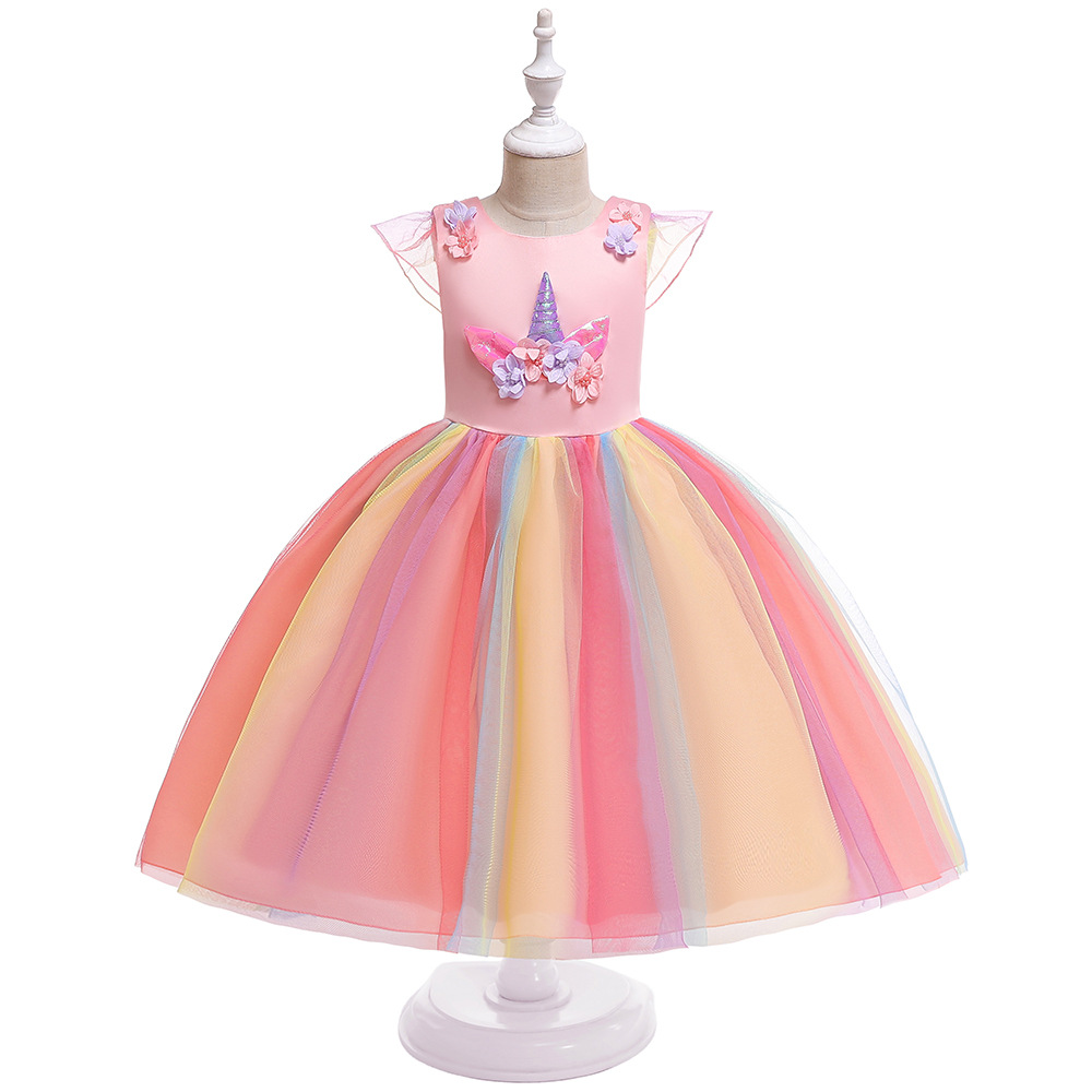 Tulle Princess Birthday Party   Dress   2019 A-Line Cap Sleeveless Pink   Flower     Girls     Dresses