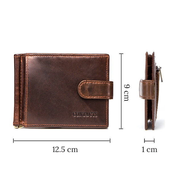 CONTACT'S cow leather money clip men card wallet thin money clamp for 10 cards male bifold credit card case with zip coin pocket 3