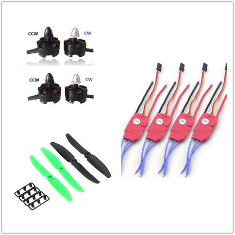 4x 2204 2300KV Brushless Motor CW CCW +4x12A SimonK ESC 6030 Propeller for Multicopter Mini 200 230 250MM Quadcopter a2212 1000kv 2200 brushless outrunner motor simonk 30a esc 1045 propeller 1 pair quad rotor set for rc aircraft multicopter