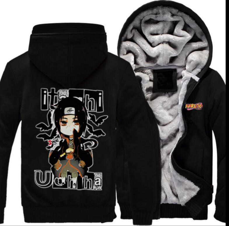 font b Naruto b font Sasuke Uchiha 1st thick winter fleece Sweatshirt Hoodie Coat font