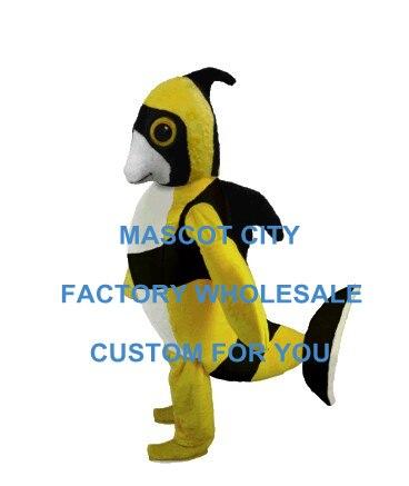 Желтый и Черный Ангел рыбы Маскоты костюм прекрасный морской Животные Маскоты te костюм нарядное платье партии карнавал реклама sw693