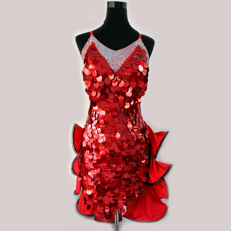 New Style Latin Dance Costume Sexy Sequins Spandex Latin