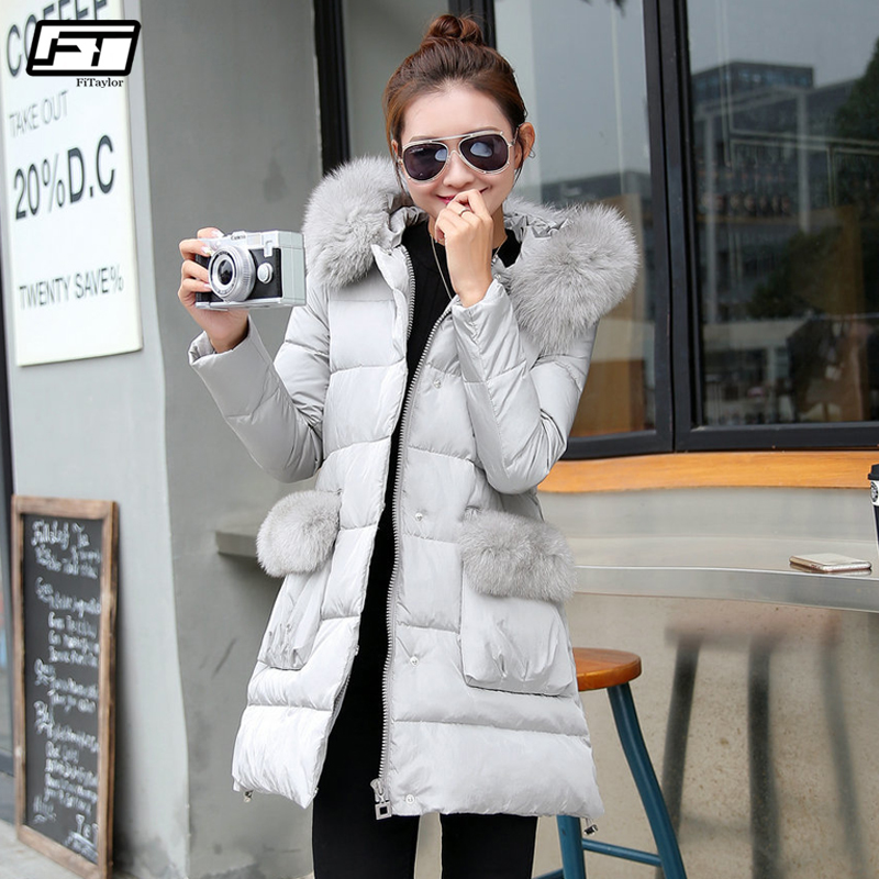 Fitaylor Winter Hooded Fur Collar Pocket Coat Women Duck Down Parkas Large Thickness Warm Overcoat Long Jackets Snow Outwear