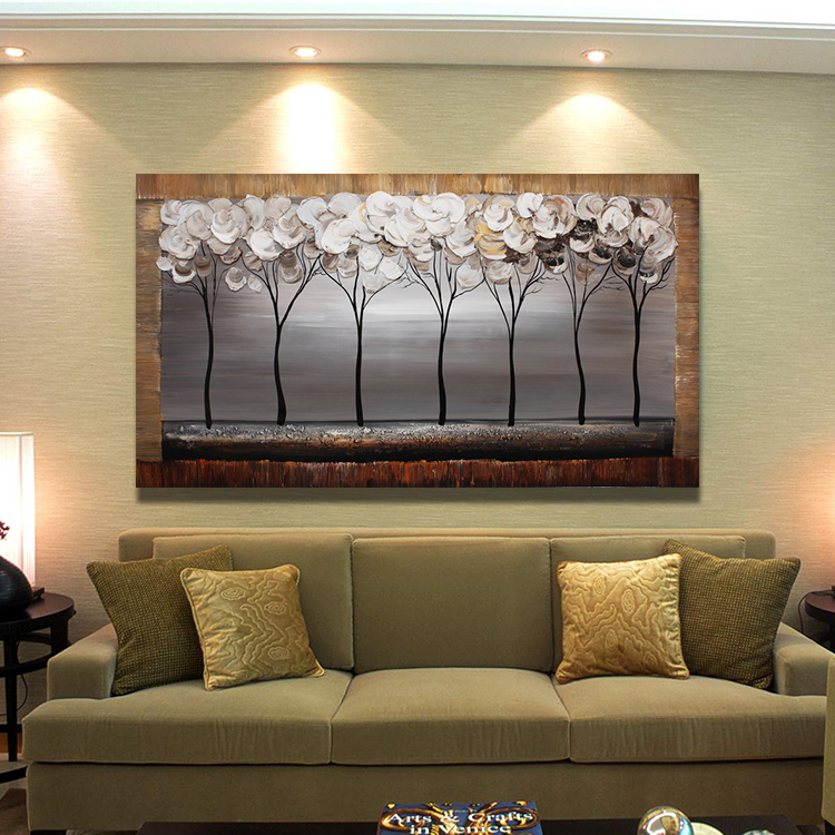Abstract Oil Painting Trees font b Knife b font Hand painted Painting On Canvas Wall Pictures