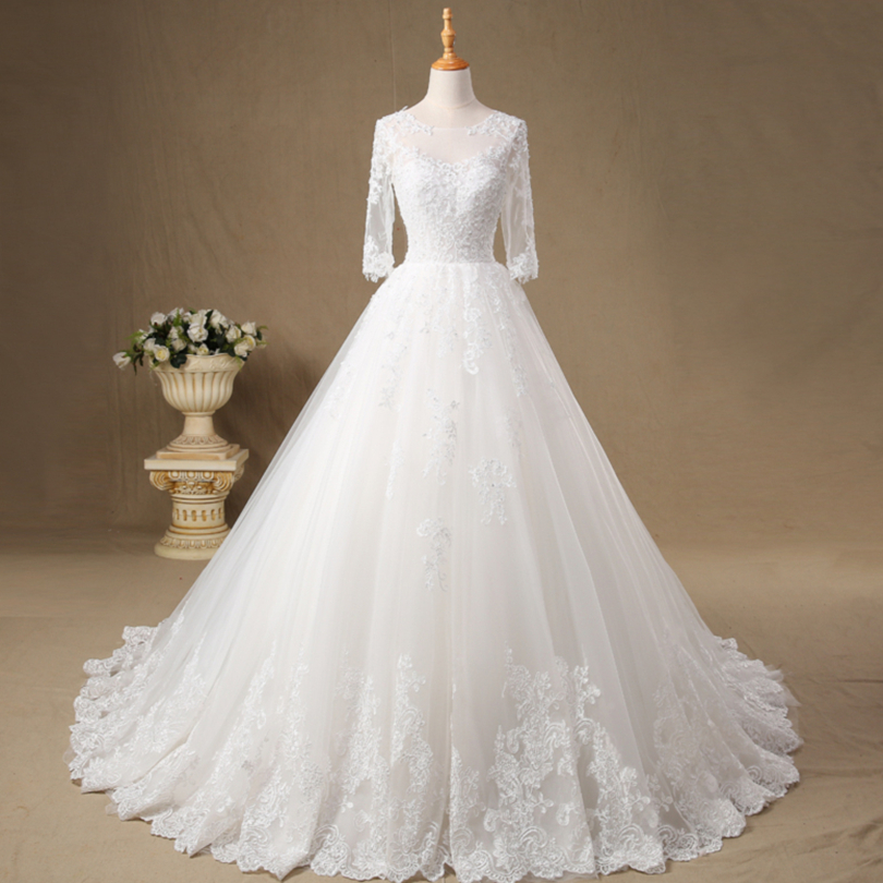Bateau Neck Appliques Soft Tulle Ball Gown Wedding Dress