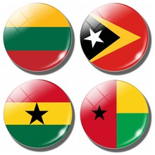 Guinea-bissau Timor-leste Lithuania Flag 30 MM Magnet Kulkas Kaca Kubah Magnet Kulkas Sticker NoteHolder Ghana Rumah Decor(China)