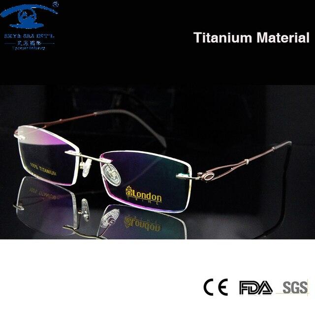 Роскошные титана очки без оправы женщин безрамное очки титан очки рама рецепту очки Rx