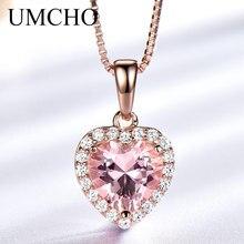 UMCHO Solid 925 เงินสเตอร์ลิงจี้สร้อยคอผู้หญิง Rose สีชมพู Morganite Charm หัวใจจี้สำหรับของขวัญเครื่องประดับ Fine