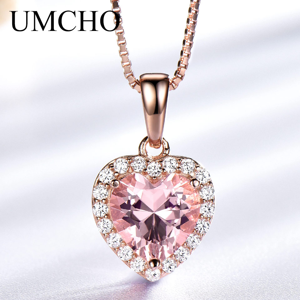 UMCHO Stable 925 Sterling Silver Pendants Necklaces For Ladies Rose Pink Morganite Appeal Coronary heart Pendant For Woman Present Effective Jewellery Necklaces, Low cost Necklaces, UMCHO Stable 925 Sterling...