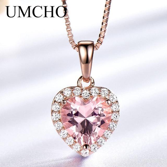 Umcho sólido 925 prata esterlina pingentes colares para as mulheres rosa morganite charme pingente de coração para presente da menina jóias finas