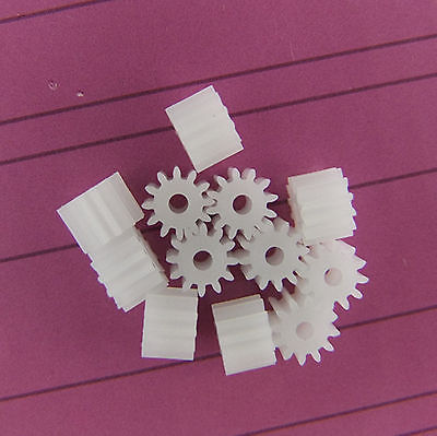 20pc Plastic Cogs Gear Gearbox Motor Shaft Wheels 2mm Hole dia 9 Teeth 92A цена
