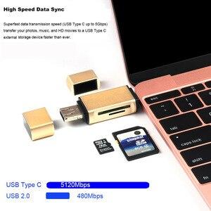 Image 3 - 3 w 1 MicroSD SD TF USB2.0 MicroUSB OTG typu C uniwersalny czytnik kart pamięci projekt dla Ipad z systemem Android telefon PC Macbook
