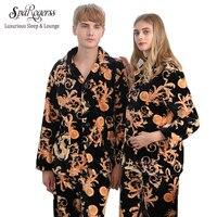 SpaRogerss Luxurious Women Pajamas 2017 New Design Winter Couple Lovers Long Sleeve Coral Fleece Pajamas Pants
