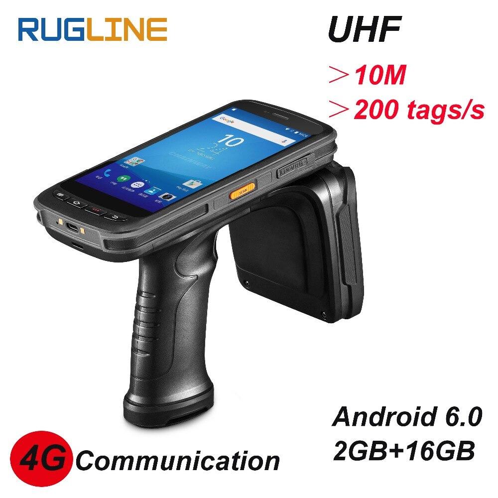 Android 6,0 PDF417 сканера штриховых кодов Междугородние чтения тегов 10 м UHF RFID считыватель 4 г портативный компьютер PDA с 13MP камеры