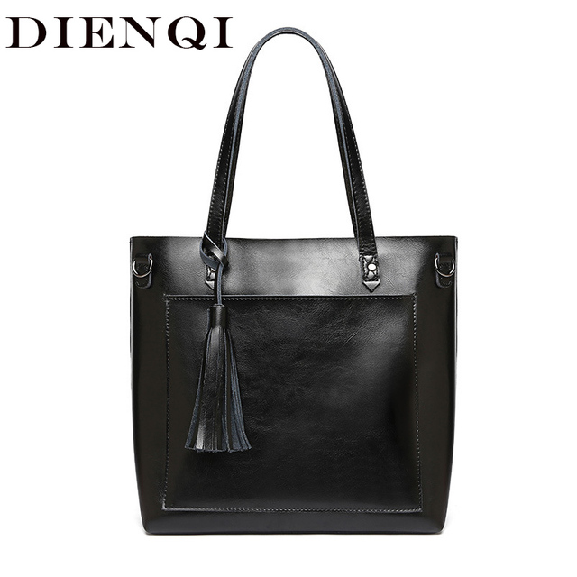 607981290c1f DIENQI Large Women Genuine Leather Shoulder Bags Retro Tassel Luxury Women  Handbags Black Ladies Big Shopper