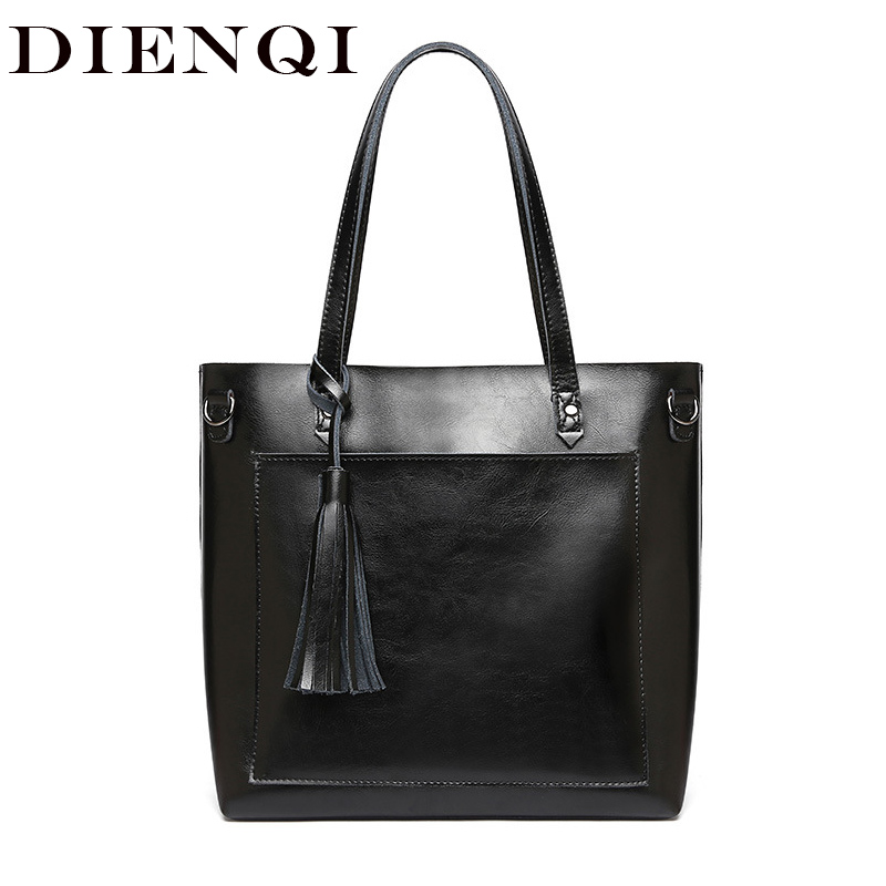 DIENQI Large Women Genuine Leather Shoulder Bags Retro Tassel Luxury Women Handbags Black Ladies Big Shopper Hand Bags DesignerDIENQI Large Women Genuine Leather Shoulder Bags Retro Tassel Luxury Women Handbags Black Ladies Big Shopper Hand Bags Designer