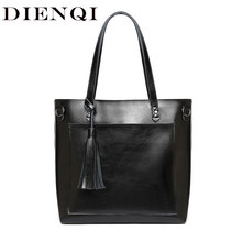 DIENQI Large Women Genuine Leather Shoulder Bags Retro Tassel Luxury Women Handbags Black Ladies Big Shopper Hand Bags Designer(China)