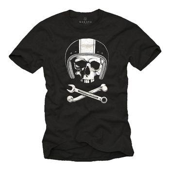 2019 heißer verkauf Mode T hemd Motorrad Herren T-Shirt mit Schädel & Helm-Weise Rockabilly Totenkopf Abschlag hemd