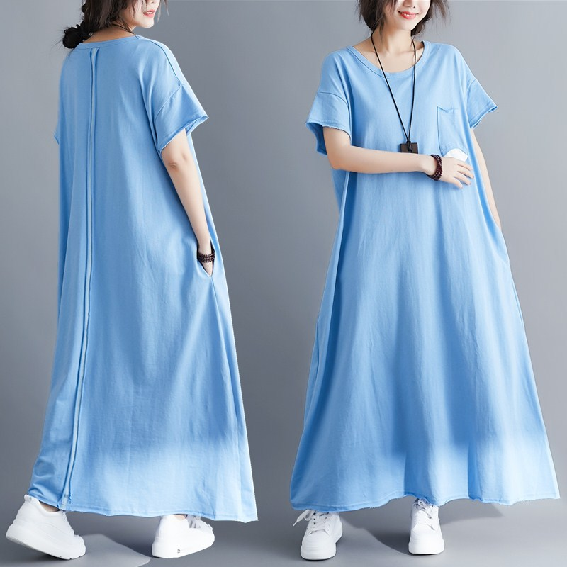 Summer Woman Plus Size Knit Long Dress 2019 New Korean Edition Solid Short Sleeve O neck Pocket Loose Casual T shirt Maxi Dress in Dresses from Women 39 s Clothing