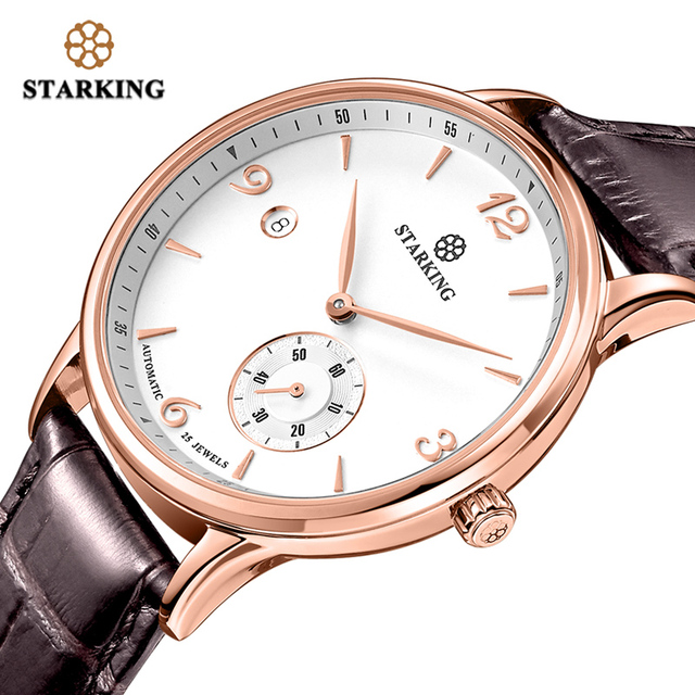 STARKING Vintage Watch Men Automatic Self-wind Wristwatch Sapphire Glass Stainless Steel Watches Auto Date Waterproof 5ATM 2019