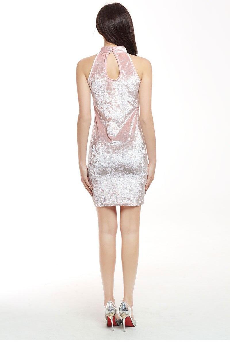 2017 New Summer Sexy Fashion Women Slim Dress Cross Bandage Package Hip Sleeveless Gold Velvet Lady Mini Pencil Work Dresses