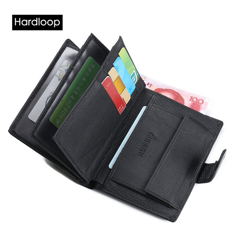 ФОТО Hardloop Cowhide Leather Black Photo Coin Pocket Hasp Genuine Leather Mens Wallets with Rfid Letter Casual Men Purse Card Bag