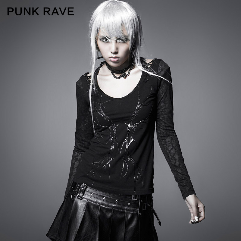 Punk Rave The Three-Dimensional the Branches of the Shirts Printed Vampire Design T-324 Chemisier