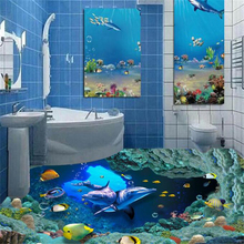 HD Underwater World Dolphin Bathroom 3D Floor Tile Floor Bedroom Bathroom Living Room 3d Waterproof Self-adhesive Wallpaper Coat customized 3d wallpaper 3d floor painting wallpaper flame 3d bathroom floor tile in a sitting room 3d living room photo wallpaer