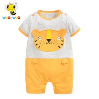 Double Sided Cotton Baby O Neck Rompers Clothing Printed Embroidery Short Sleeve Jumpsuit Infant Product