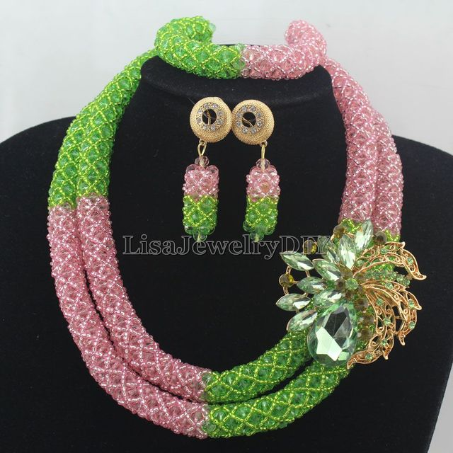 Apple GreenPink Bridesmaid Crystal Costume Jewelry Set Womans