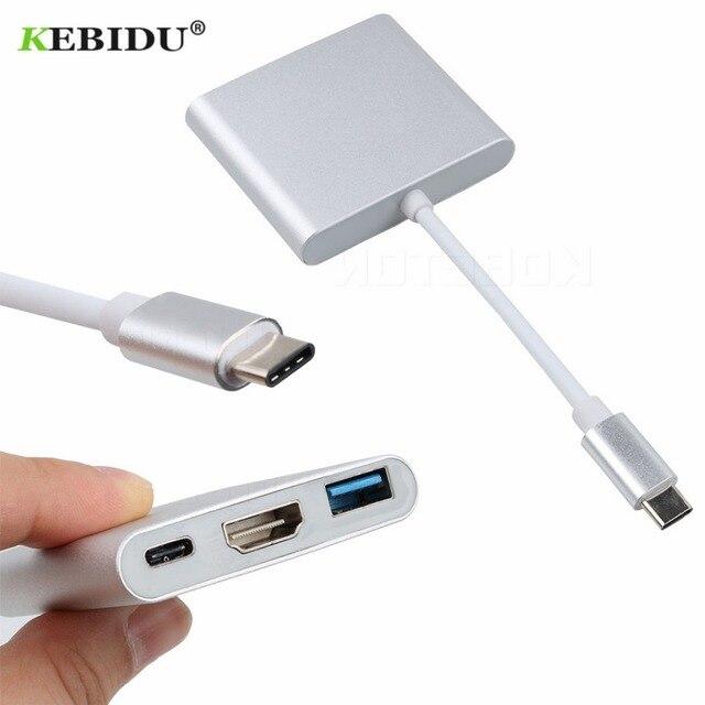Kebidu Loại C Để HDMI USB 3.0 Sạc Adapter Chuyển Đổi USB-C 3.1 Hub Adapter đối với Mac Air Pro Huawei Mate10 samsung S8 Cộng Với Mới